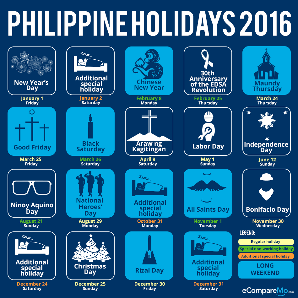 Philippine Holidays 2016 eCompareMo